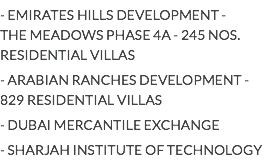 - EMIRATES HILLS DEVELOPMENT -
